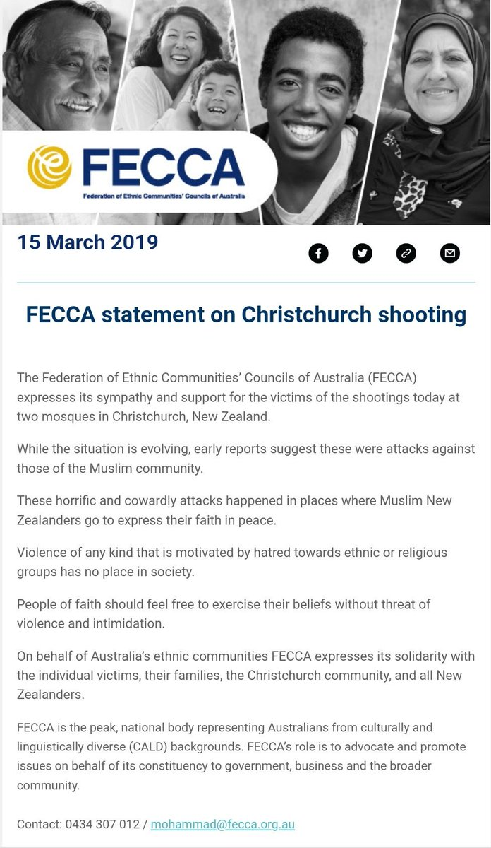 f2c7bcddadb8 FECCA statement on  ChristchurchShooting. Our condolences with the victims  and their families.pic.twitter.com WSlkk29VYO