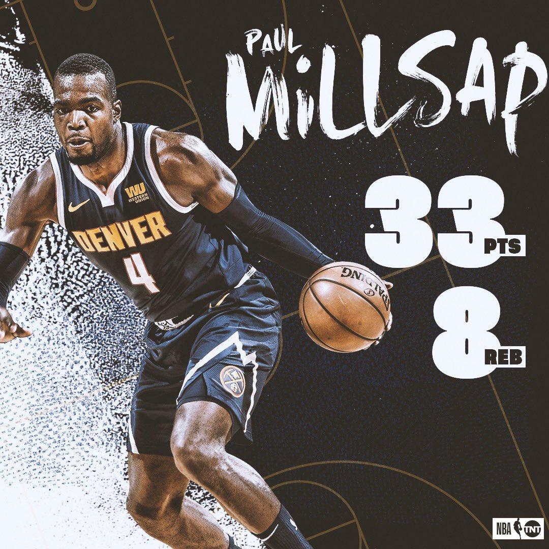 All on 14-19 shooting! 😳 Have a night, @Paulmillsap4! 👏  #MileHighBasketball