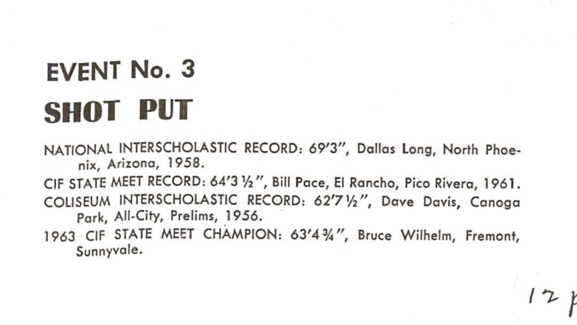 I came across this today. Bill Pace, the El Rancho throwing legend, was once the CIF State Meet record holder in the Shot Put!!! #History #Tradition #BluePride <br>http://pic.twitter.com/MEbosuiOAo