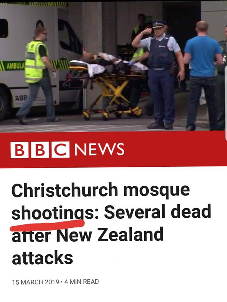 If you are a Muslim = Terror attack  If you are not Muslim = then it is Shooting  #NewZealand  #Christchurch