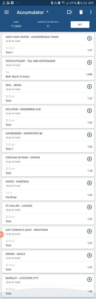 -TCAG9 (&quot;Maxbet&quot; acca) 17 odds -2V939 (Longshot acca) 71 odds  Kindly RT fam <br>http://pic.twitter.com/TPvPmPHFHe