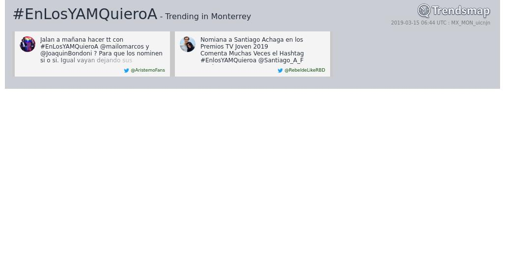 Trendsmap Monterrey's photo on #EnLosYAMQuieroA