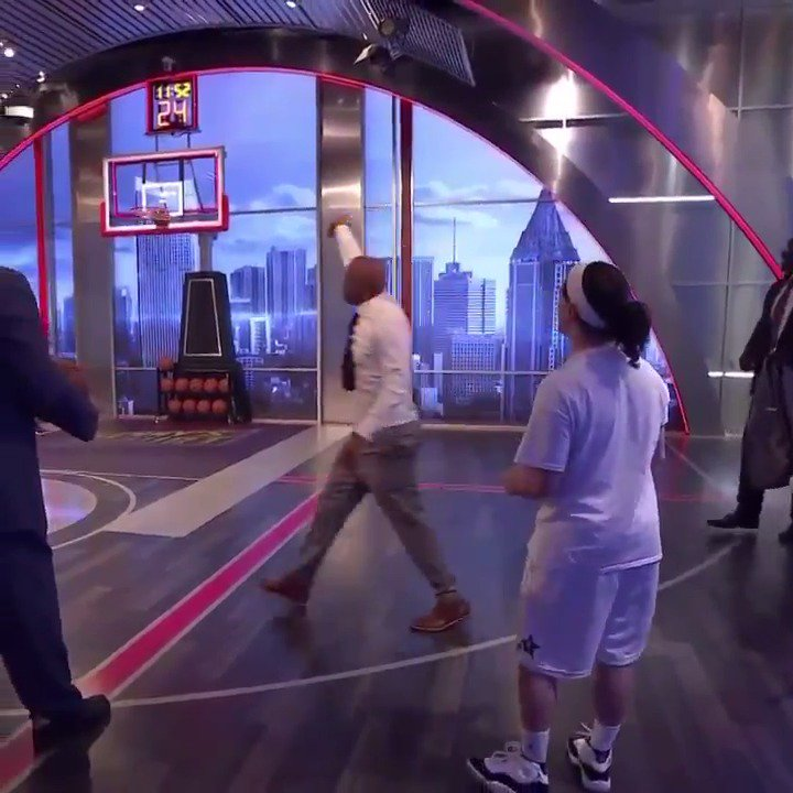 """""""Let's go home, America!!! 👌👌👌👀   @TheJetOnTNT took on the world record holder for most made NBA threes in a minute."""