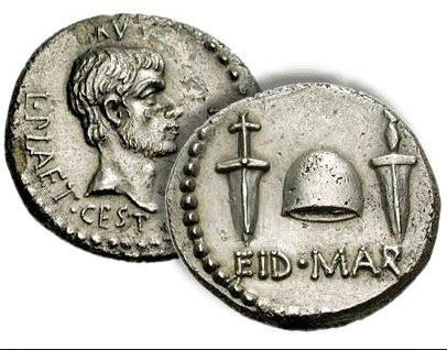 "Words of the day: ""Ides of March""––the day in the Roman calendar corresponding to the 15 March, traditionally representing a deadline by which debts must be settled. In 44 BC Caesar was assassinated on this day, triggering civil war & political chaos. Beware the Ides of March..."