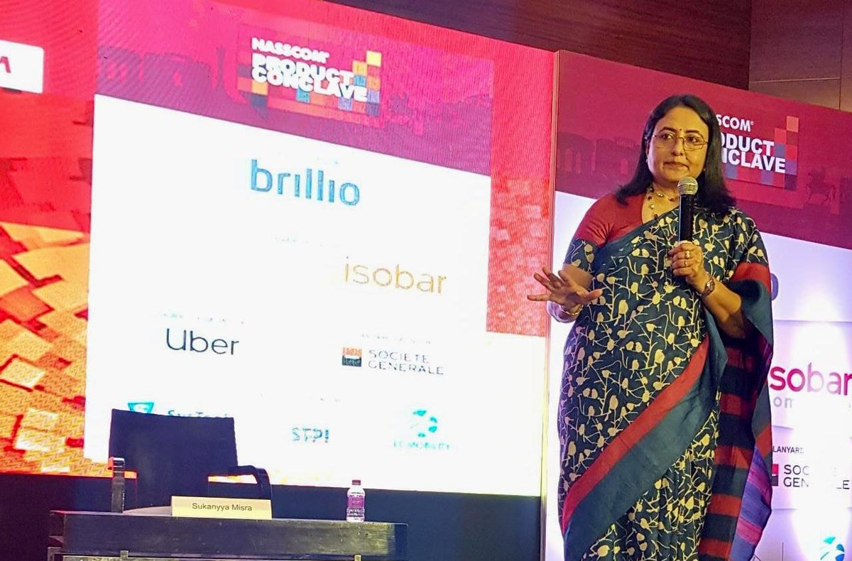 """""""With huge volume of data, comes huge responsibility"""", says Sukanyya Misra, SVP, India Tech Hubs, Mastercard, emphasizing on how #BigData is used to analyse trends and reduce fraudulent transactions, at the @NASSCOM_Product Conclave in Pune."""