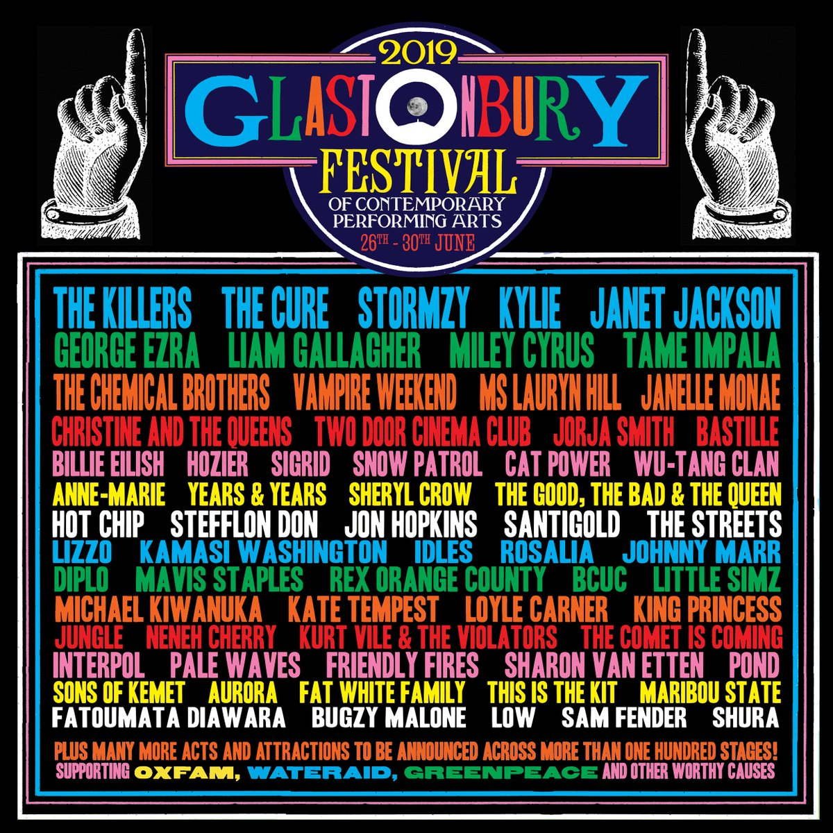 Glastonbury's Stacked 2019 Lineup Features Tame Impala, Vampire Weekend, Miley Cyrus, And So Much More
