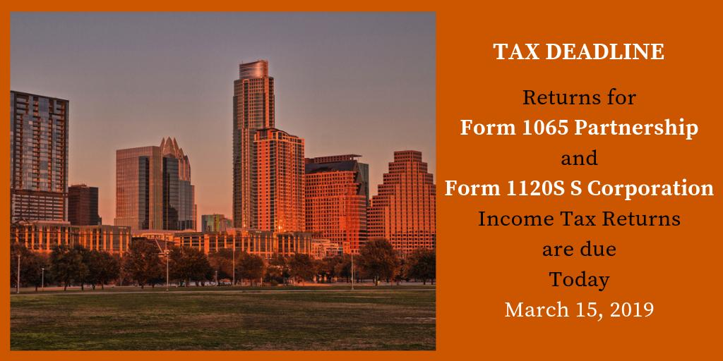 "form 1065 extension deadline  Brian Streig, CPA on Twitter: ""TAX DEADLINE TODAY Returns or ..."