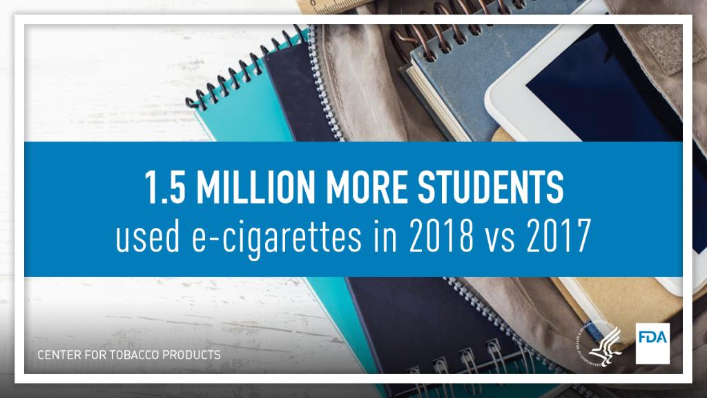 Middle and high school students currently using e-cigarettes rose to 3.6 million in 2018, which is 1.5 million more than in the previous year. #BrainWeek   Discover FDA's commitment to stemming the use of e-cigarettes among youth: https://www.fda.gov/TobaccoProducts/NewsEvents/ucm633034.htm?utm_source=CTPTwitter&utm_medium=social&utm_campaign=ctp-healthobservance …