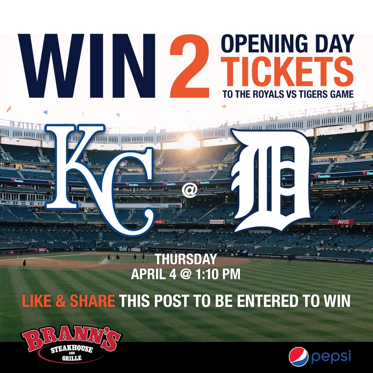 We're stoked to giveaway 2 tickets to the Tigers ⚾️ home opener on April 4, courtesy of @pepsi. Please like, retweet and follow us for a chance to win! A winner will be selected on Monday, March 18. Thanks and good luck! @Hugeshow @TheTicketMI #FridayFeeling #OpeningDay
