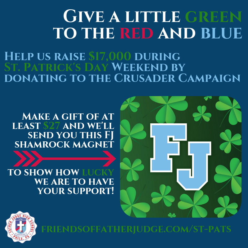 """Top O' the Morning! It's #StPaddysDay weekend & our #ShadeTheShamrock appeal is back! Help us reach our $17k goal & make a """"Lucky 7"""" donation-$27, $57, $77 or an amount with a 7. Visit http://www.friendsoffatherjudge.com/st-pats & give a little green to the red & blue & get an FJ magnet! 🔴🔵☘️"""