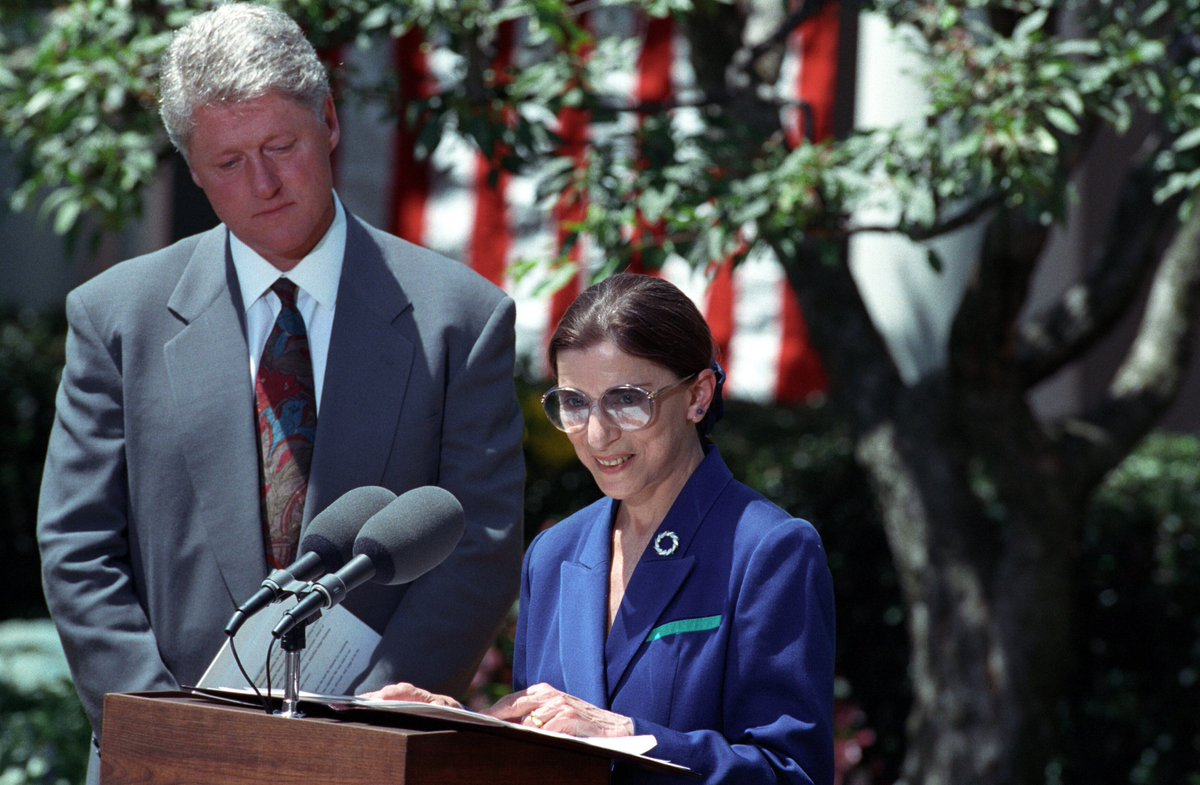 Happy Birthday, Justice Ginsburg! #RBG    Here she is with Pres. @BillClinton in 1993 at the announcement of her nomination to the U.S. Supreme Court.  Photo courtesy of the William J. Clinton Presidential Library.