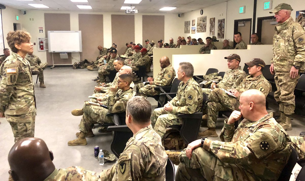 Readiness is our #1 priority! CSM Gragg and I appreciate feedback from senior leaders at the @OPSGRP_NTC this week. Great discussion regarding @ArmyMedicine support to maneuver units, doctrine updates and future opportunities to improve our HSS platforms. @SecArmy @ArmyChiefStaff