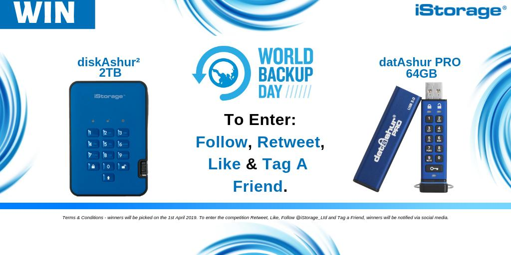 #competitiontime - #WorldBackUpDay is fast approaching be in for a #chance to #win a diskAshur² 2TB in Blue or a datAshur PRO 64GB.  Retweet, Like ,Tag a friend &amp; follow us to be in for a chance to win! #comp #giveaway<br>http://pic.twitter.com/bXUPQXdgoI