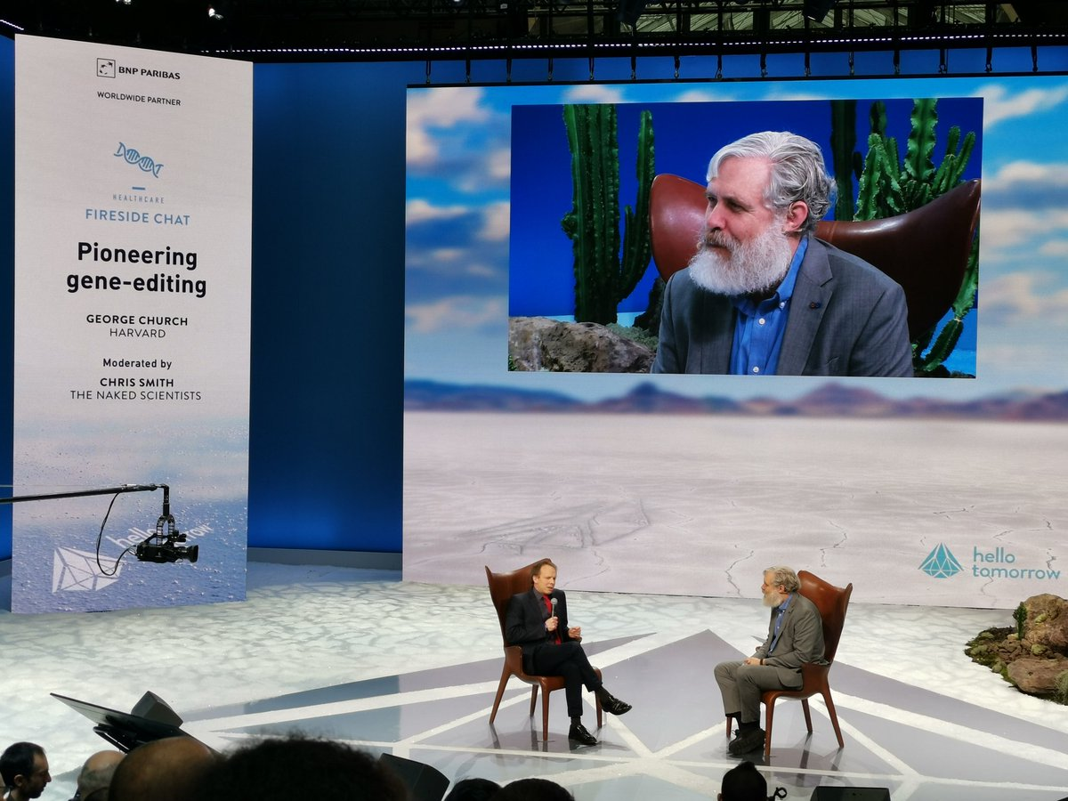 Opening day 2 with the brilliant @geochurch, professor at Harvard, and Chris Smith (@NakedScientists) on pioneering gene-editing. Tackling the CRISP babies apparently cured from HIV, blindness and cancer treatment through gene engineering, and much more! #HTSummit #georgechurch