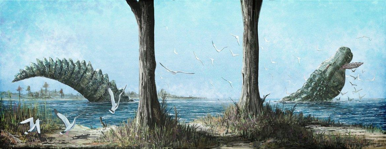 It&#39;s #FossilFriday! Here&#39;s #paleoart of the gigantic fossil alligatoroid Deinosuchus riograndensis. Deinosuchus is often restored as a dinosaur predator, but fossils suggest turtles were its preferred prey. For more details, check out this blog post:  http:// markwitton-com.blogspot.com/2016/01/deinos uchus-dalek-backed-alligatoroid.html &nbsp; … <br>http://pic.twitter.com/9Lf5gqBKxq