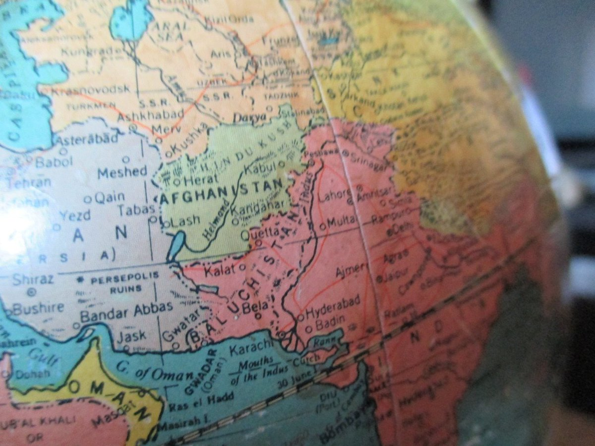 A globe from 1946. I can see #Balochistan &amp; #India written crystal clear but I don&#39;t see #Pakistan written anywhere.  Pakistan was not in the map until 1947 but Balochistan had an Independent History &amp; Geography.  Now I understand Pakistan&#39;s serious IDENTITY CRISIS as a country <br>http://pic.twitter.com/gVh7keibWV