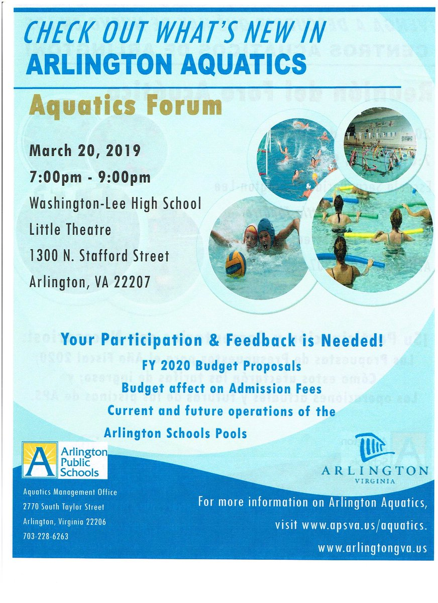 Aquatics Forum: March 20th. W-L Little Theatre. 7-9pm. Learn about budget impact on aquatic admission and class fees. <a target='_blank' href='https://t.co/z8UnlohTfi'>https://t.co/z8UnlohTfi</a>