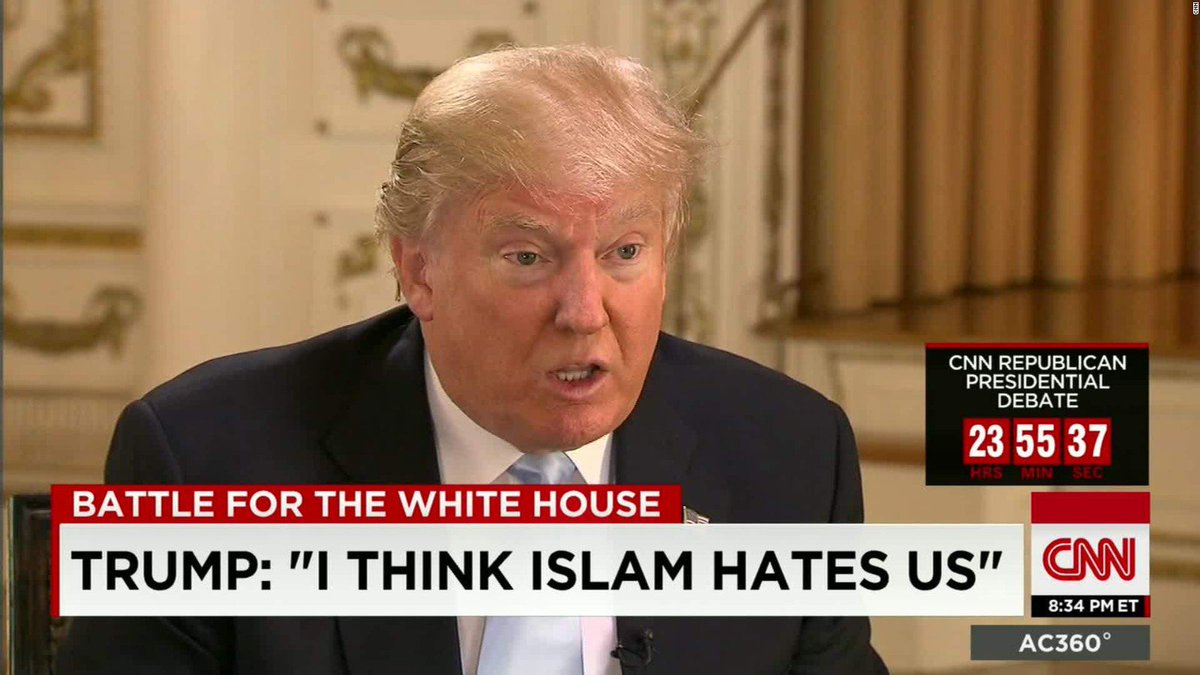 Imagini pentru trump i think islam hates us