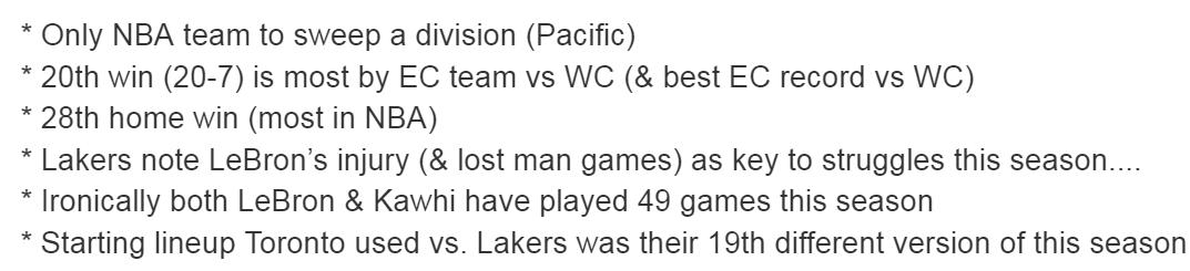 A few interesting Raptors milestones & stats following win over Lakers: