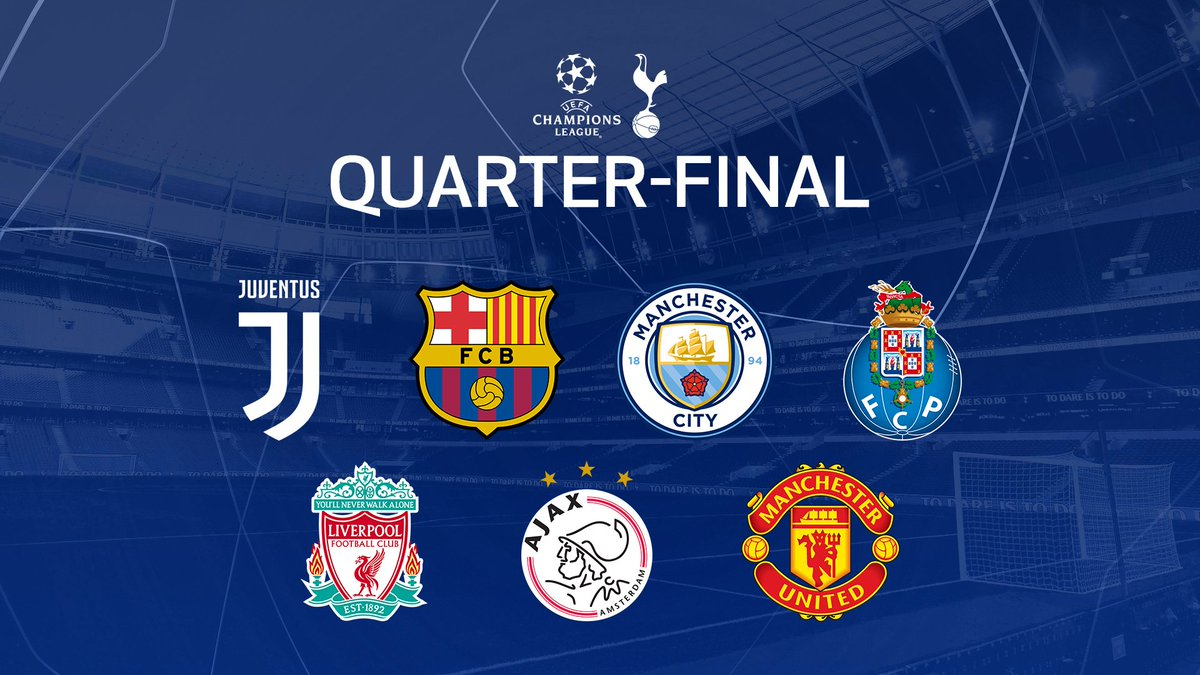 ⏱️ The #UCL quarter-final draw begins shortly!  A reminder of the teams we could face...  #UCLdraw ⚪️ #COYS