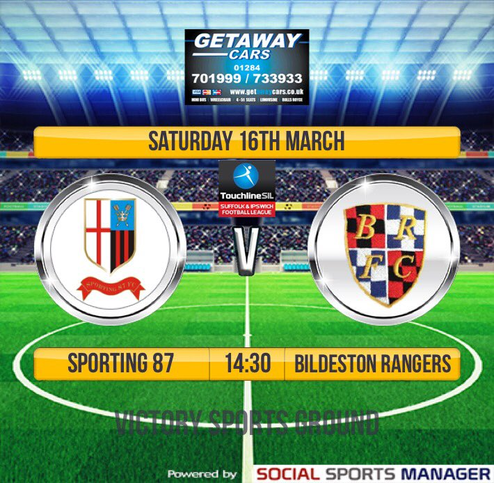Tomorrow's Fixtures: First Team play their final home game of the season welcoming @BildestonFC to the Victory Ground. The Reserves are away @BramfordUtdFC Res, whilst the A's are travelling to @TheCastlemen A's.
