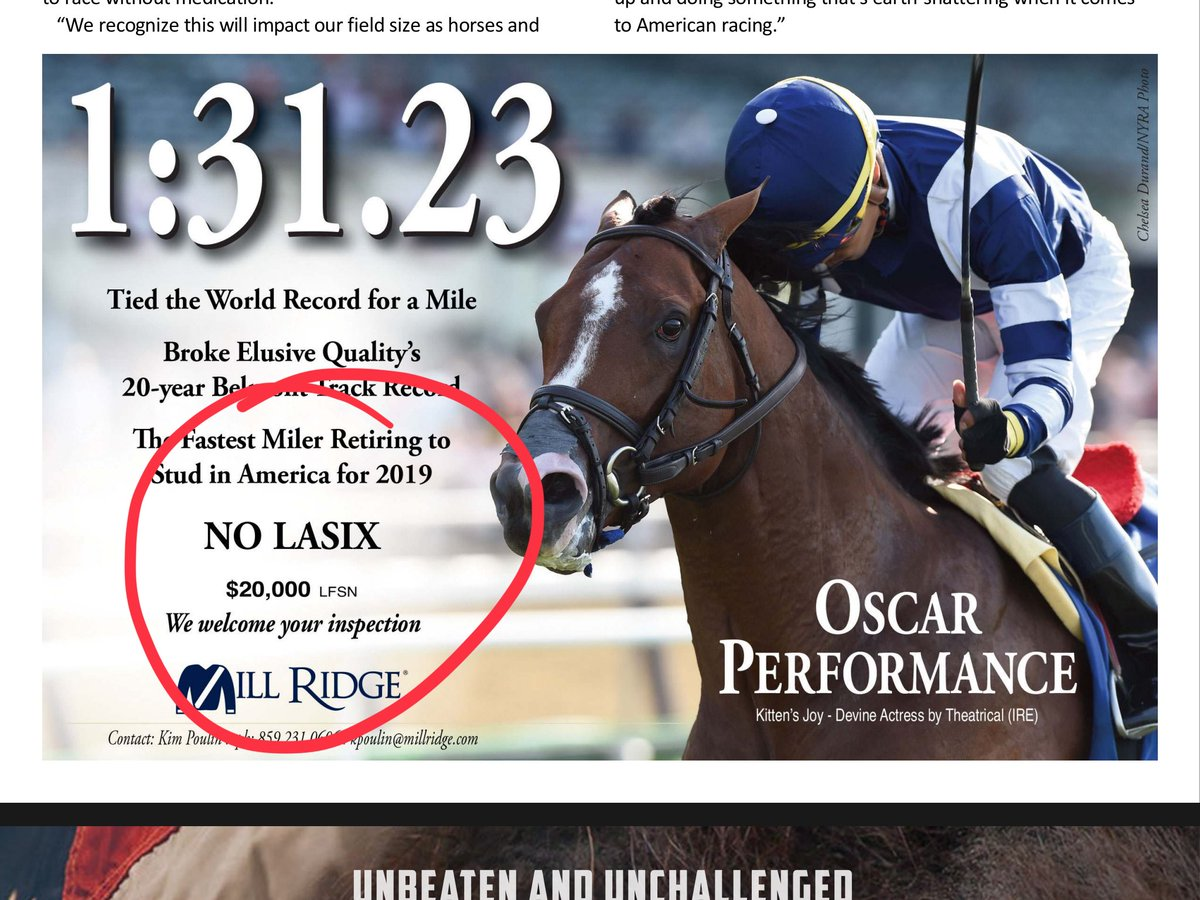 This ad was scheduled to run last week but how appropriate for today. The Amermans have always believed in No Lasix and raced at highest level with OSCAR PERFORMANCE. <br>http://pic.twitter.com/DMYOlq5cuB