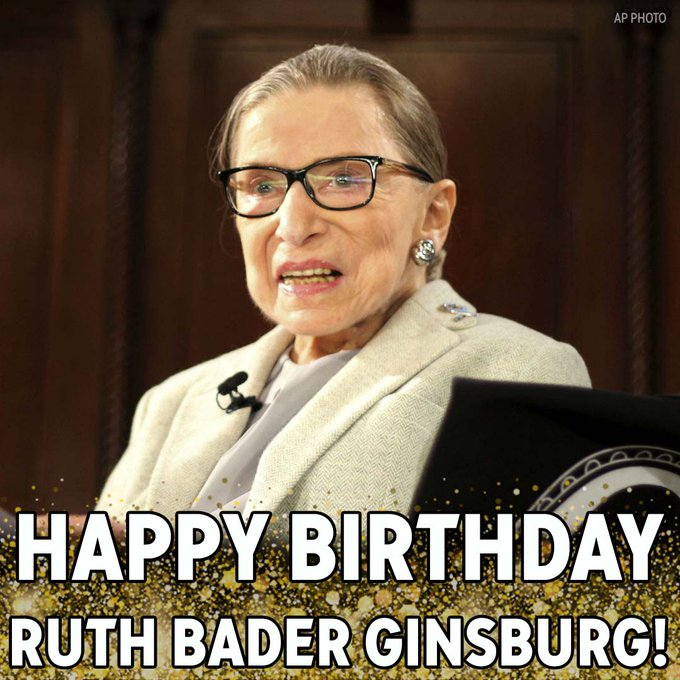 Happy Birthday, RBG! Supreme Court Justice Ruth Bader Ginsburg turns 86 today.