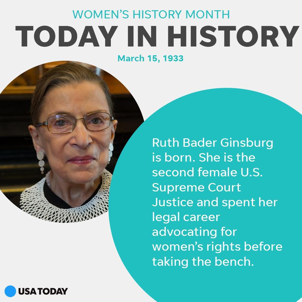 Happy birthday, RBG. https://t.co/7XZxbaRisU #WomensHistoryMonth #todayinhistory https://t.co/SvsZRFnY1H