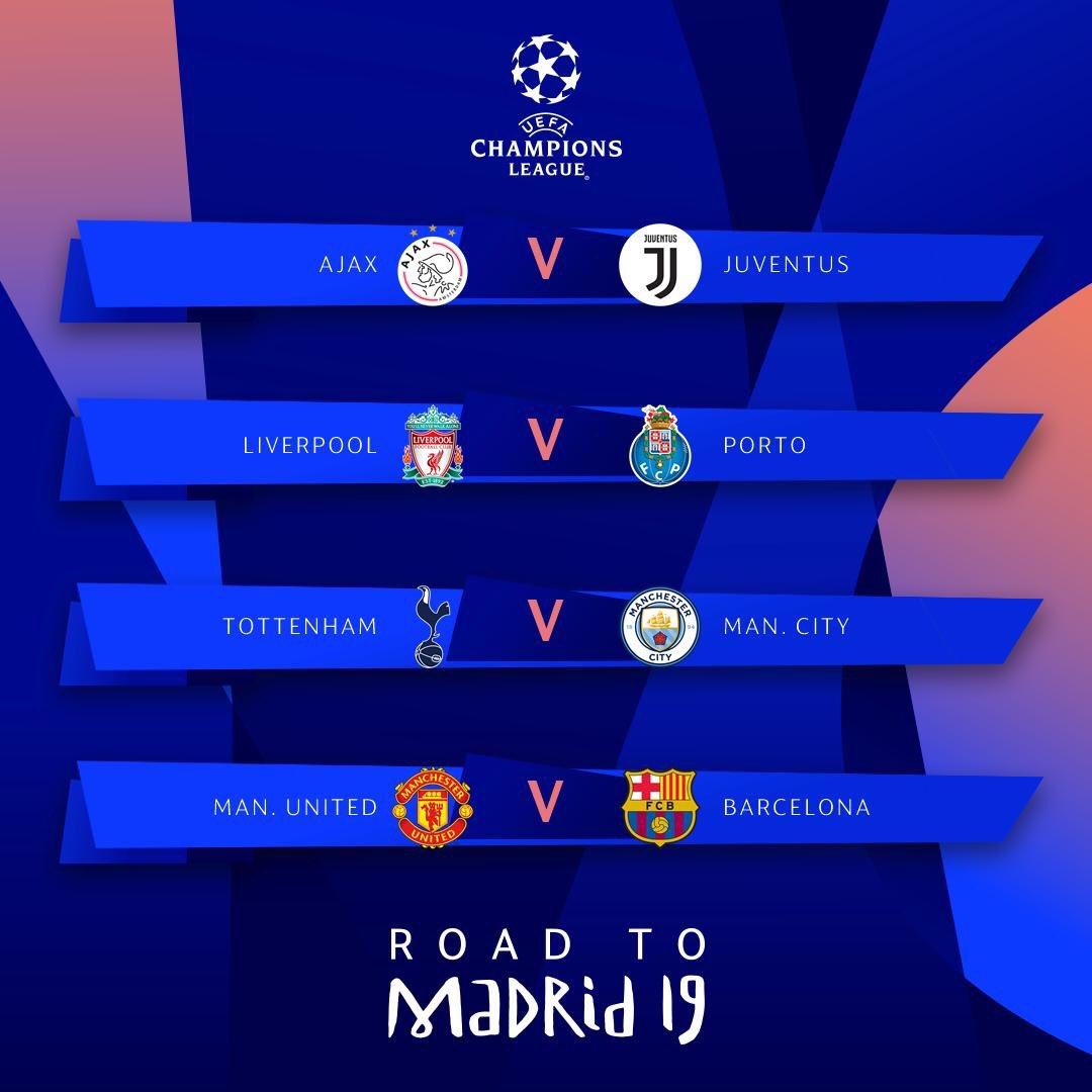 رسميا / ربع نهائي دوري أبطال أوروبا :  - اياكس × يوفنتوس  - ليفربول × بورتو  - توتنهام × مان سيتي  -  برشلونة × مان يونايتد   #UCLdraw