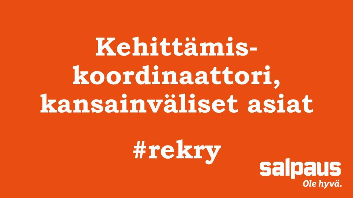 Tule meille töihin! Etsimme kehittämiskoordinaattoria, jolla on kokemusta kansainvälisestä yhteistyöstä ja hanketoiminnasta sekä ammatillisen koulutuksen tuntemusta. Lue lisää ja hae 29.3. mennessä: https://www.salpaus.fi/info/tule-meille-toihin/avoimet-tyopaikat/… #salpaus #rekry #ammatillinenkoulutus #työpaikat #Lahti