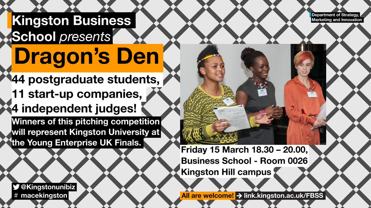 Our @KingstonUni Dragons' Den is today: 11 startups are pitching to 4 judges and competing for a place in the @YeStartup Final. Winners will be announced by 8PM tonight! 🥁🥁🥁 Good luck everyone #macekingston! https://t.co/inMQcWYVHL