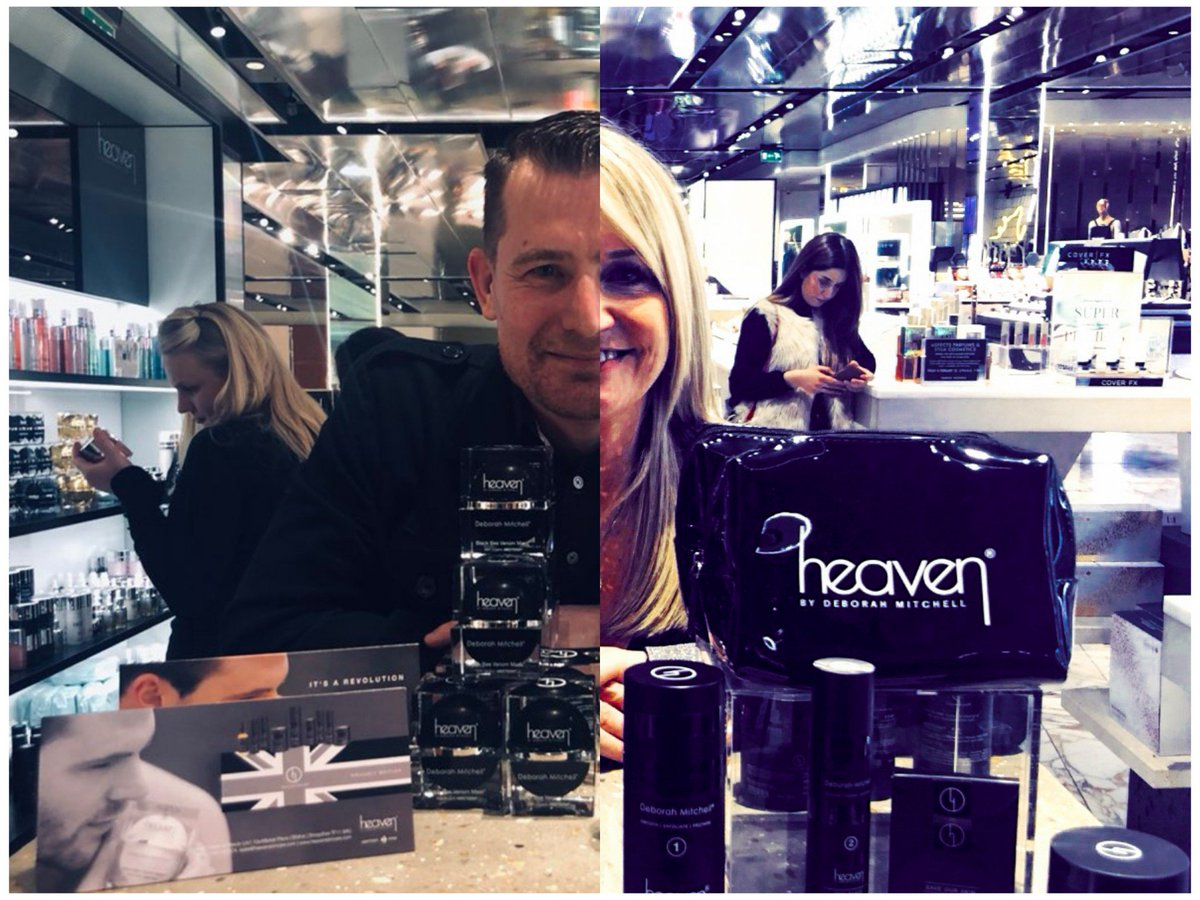 Can you #CaptionThis for a bit of #FridayFun   Both these pics were taken at the grand opening of the @heavenskincare spa/salon in @HN_Birmingham.  Obviously @DeborahHeaven is the better looking of us two.  @heavenharveyni2 @HeavenMens<br>http://pic.twitter.com/Y8J1KOY1Ob