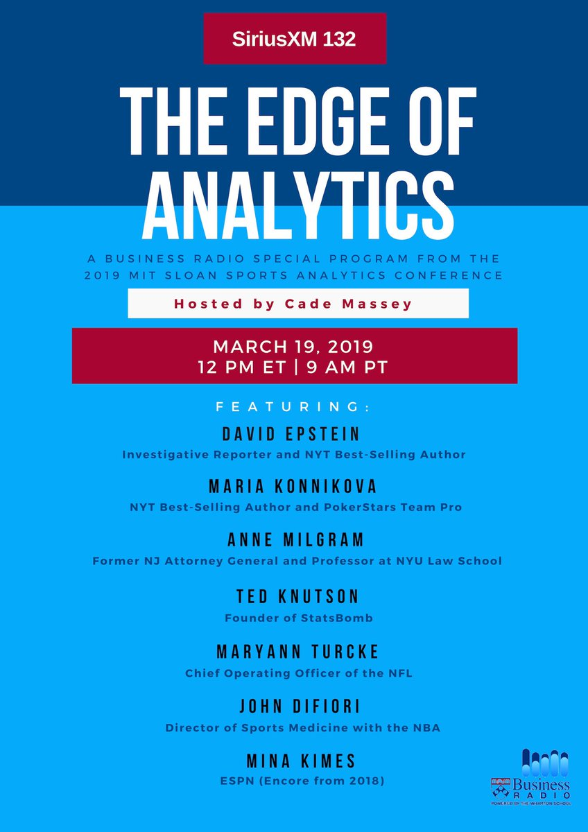 "Tuesday 12PM ET - ""The Edge of Analytics"" - Special Program from the 2019 @SloanSportsConf  Guests: @DavidEpstein - RANGE @mkonnikova - @NewYorker & @PokerStars @AnneMilgram - @NYULaw @mixedknuts - @StatsBomb Maryann Turcke - @NFL  John DiFiori - @NBA @minakimes - @espn (Encore)"