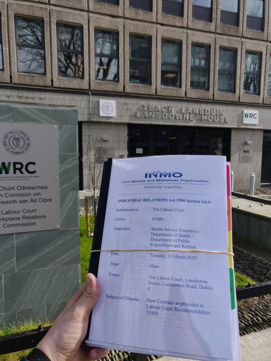 Just delivered: our arguments to the Labour Court on why the government's draft contract is unacceptable to Ireland's nurses and midwives.  Key outstanding issues: 🕓 working hours/rosters 🏥 location changes  Labour Court hearing is on Tuesday. We'll keep members updated.