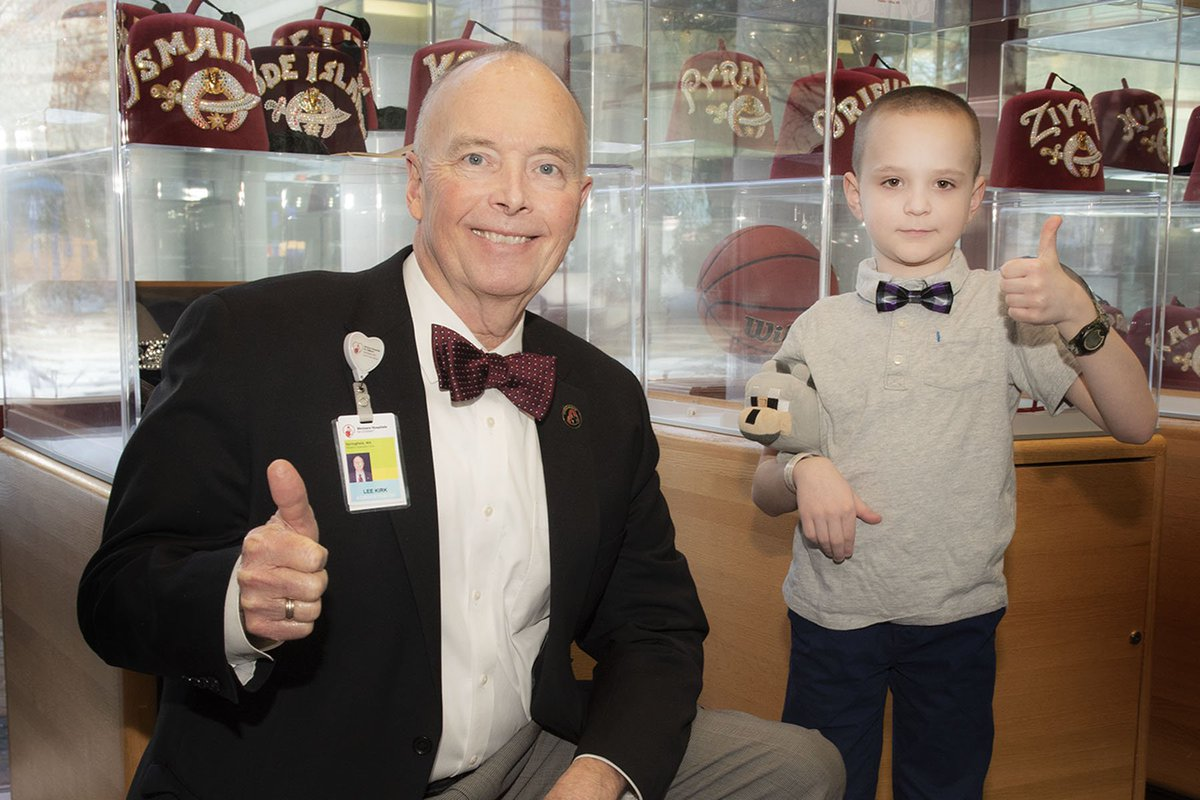 Our hospital administrator, Lee Kirk, was excited to meet Jason, a spunky 9-year-old patient who he shares something in common with: a love of bowties!   #FridayFun #twinning<br>http://pic.twitter.com/PkU8mqP3kU