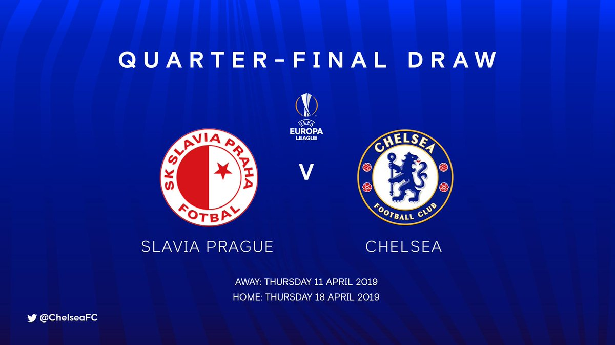 The Blues will take on Slavia Prague in the quarter-finals of the #UEL! <br>http://pic.twitter.com/8l5DIhR8zU