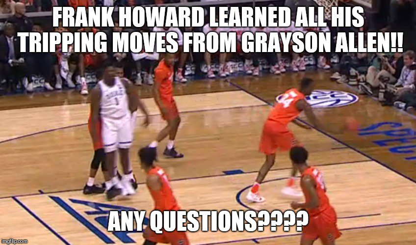 while tripping someone is admitting you can't stop them on the hardwood. It's still stupid and childish #DukevsCuse