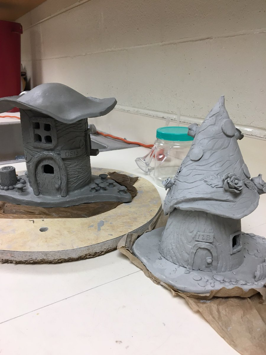 Ceramic fairy houses are coming along nicely