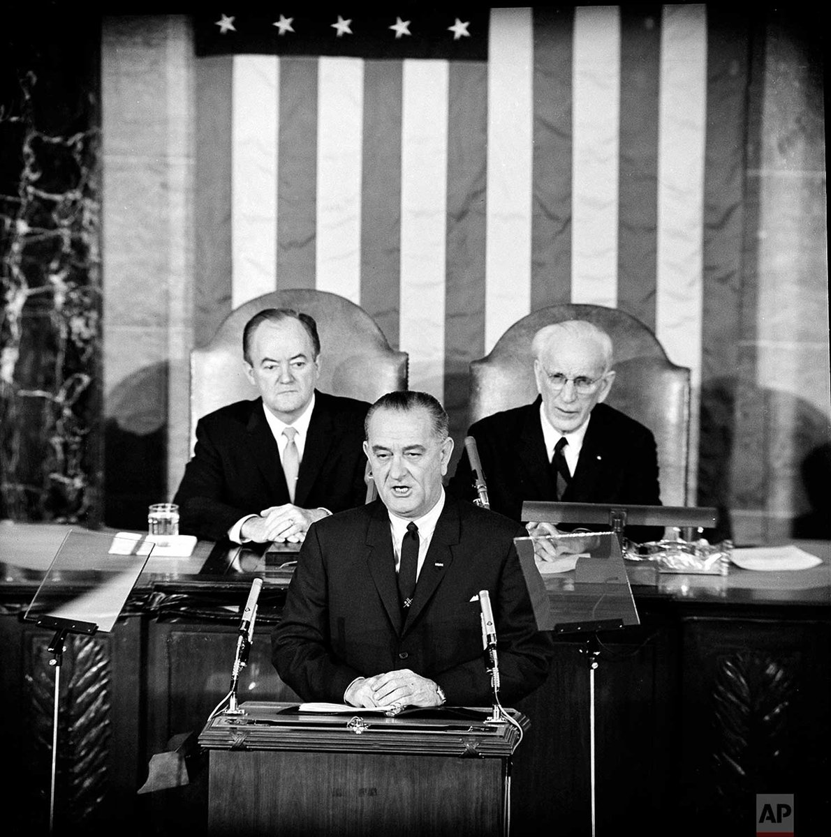#OTD in 1965, U.S. President Lyndon B. Johnson addressed a joint session of Congress in Washington, D.C. to outline his proposals for voting rights for all citizens. Vice President Hubert Humphrey is at left and House Speaker John McCormack is at right.