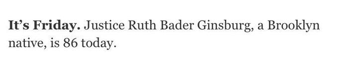 Happy birthday native Justice Ruth Bader Ginsburg!