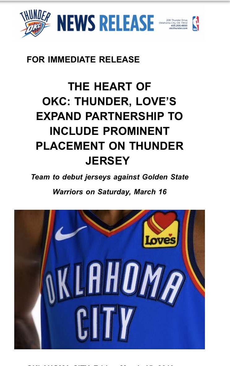 The Thunder announced they finally got a jersey sponsor.......drum roll please....it's   @LovesTravelStop