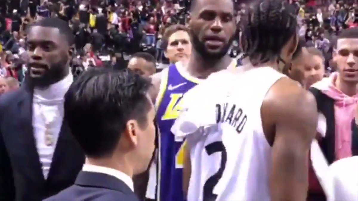 """LeBron told Kawhi they would """"be in touch"""" after Raptors-Lakers (via @NBA)"""