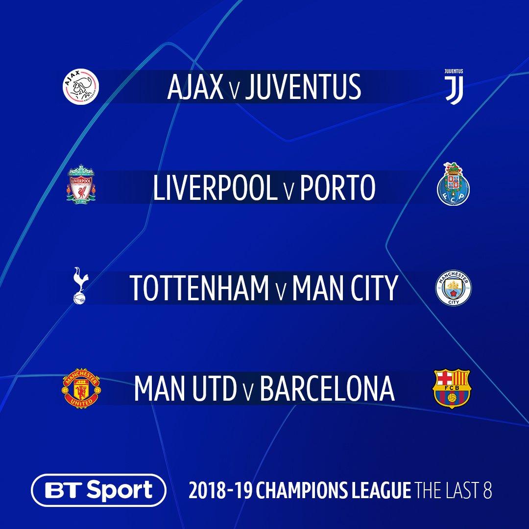 UCL QF draw:  🇳🇱 Ajax vs Juventus 🇮🇹 🏴 Liverpool vs FC Porto 🇵🇹 🏴 Tottenham vs Man City 🏴 🏴 Man Utd vs Barcelona 🇪🇸  UCL SF draw:  Tottenham or Man City vs  Ajax or Juventus  Man Utd or Barcelona vs Liverpool or FC Porto  Watch every game live on BT Sport across April 👀