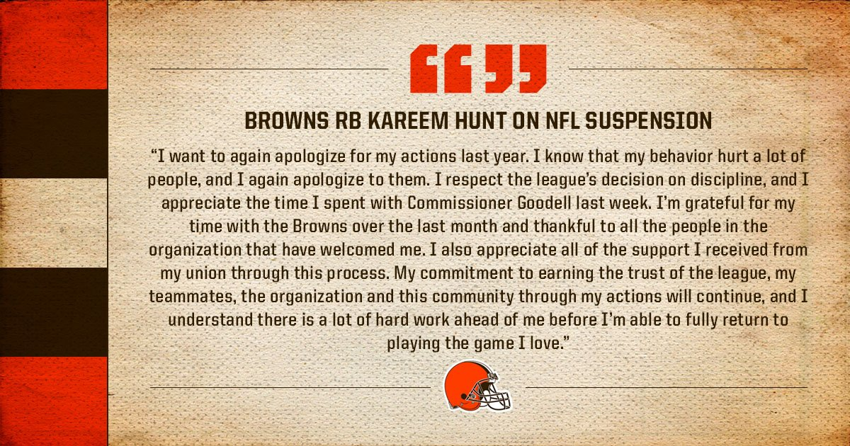 NFL announces suspension for  RB Kareem Hunt  �� » https://t.co/14MQX6a0GL  Statement from Hunt: https://t.co/AAzopWOMkc
