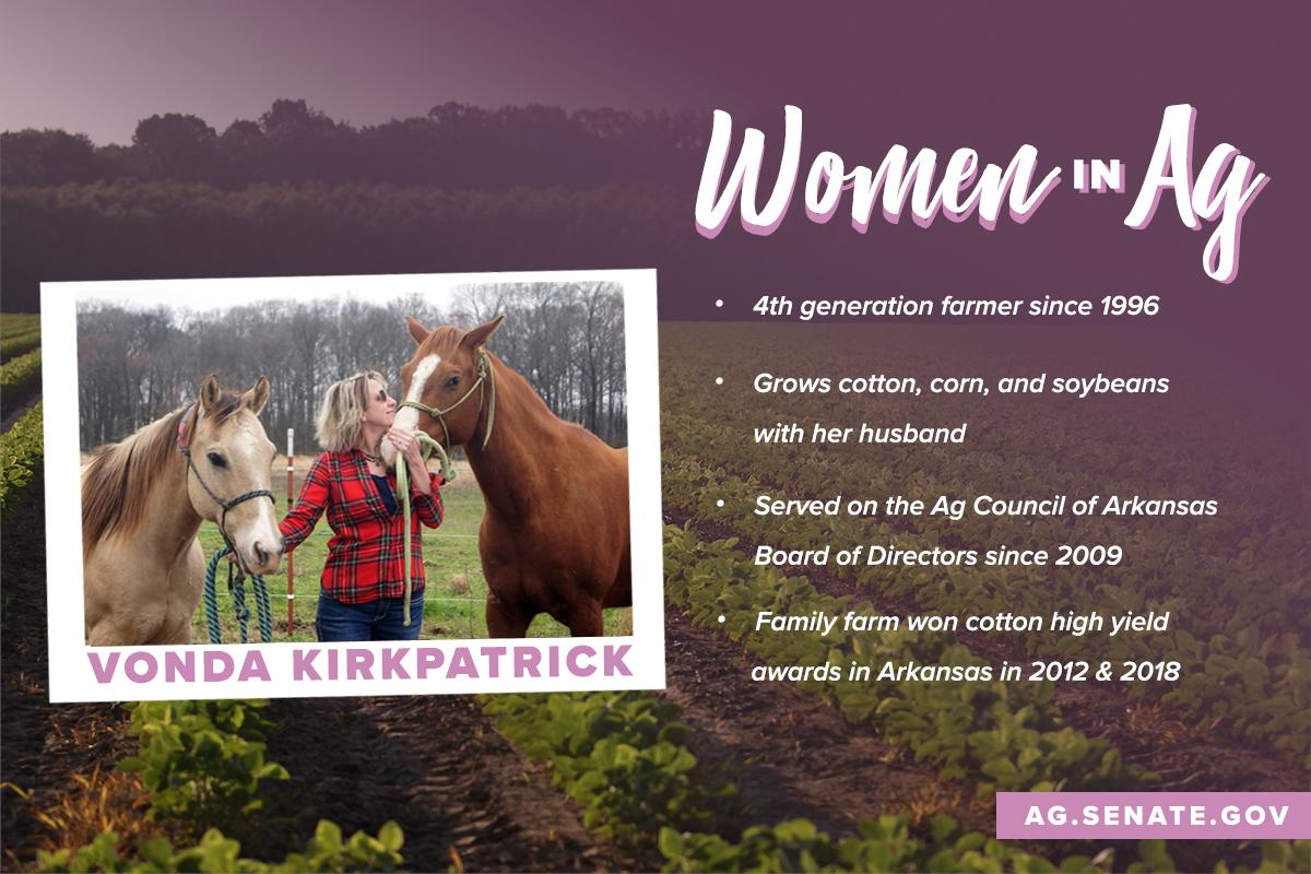 We're dedicating #WomensHistoryMonth to women in ag!  Meet Vonda, a 4th generation #Arkansas farmer who grows #cotton, #corn, and #soybeans.