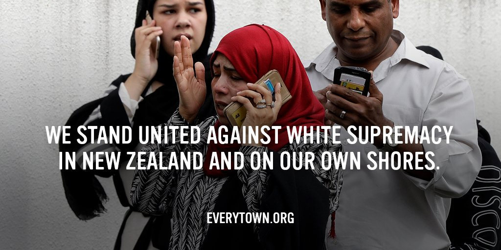 We stand with the victims, survivors, and all those impacted by the white supremacist mass shooting at the Al Noor and Linwood Mosques in Christchurch, New Zealand.