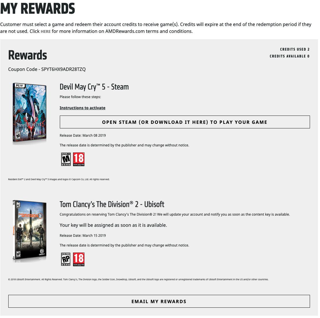 amd rewards account not activating