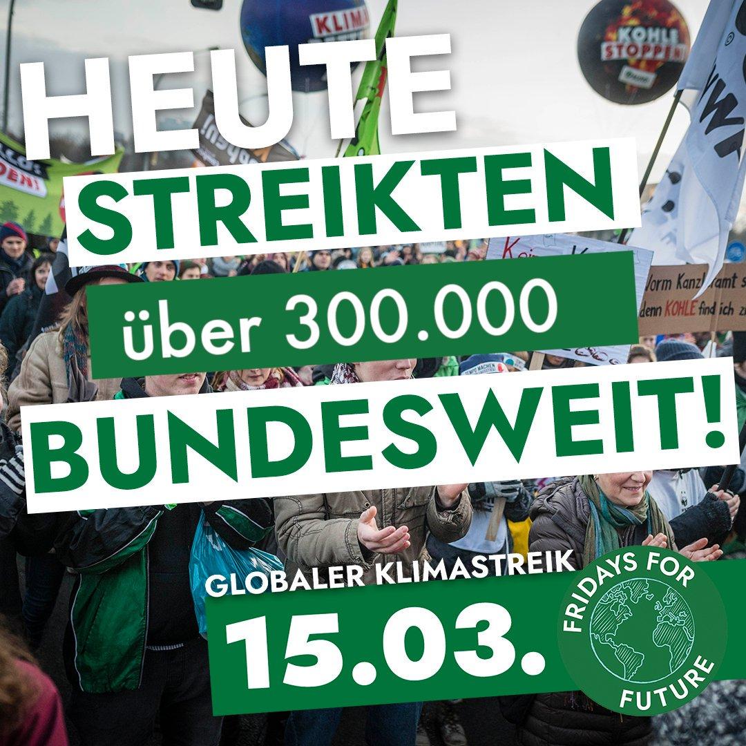 Über 300.000 junge Menschen streikten heute deutschlandweit in mehr als 230 Städten. Gemeinsam kämpfen wir für unsere #Zukunft und gegen die #Klimakrise. #FridaysForFuture streikt, bis ihr handelt