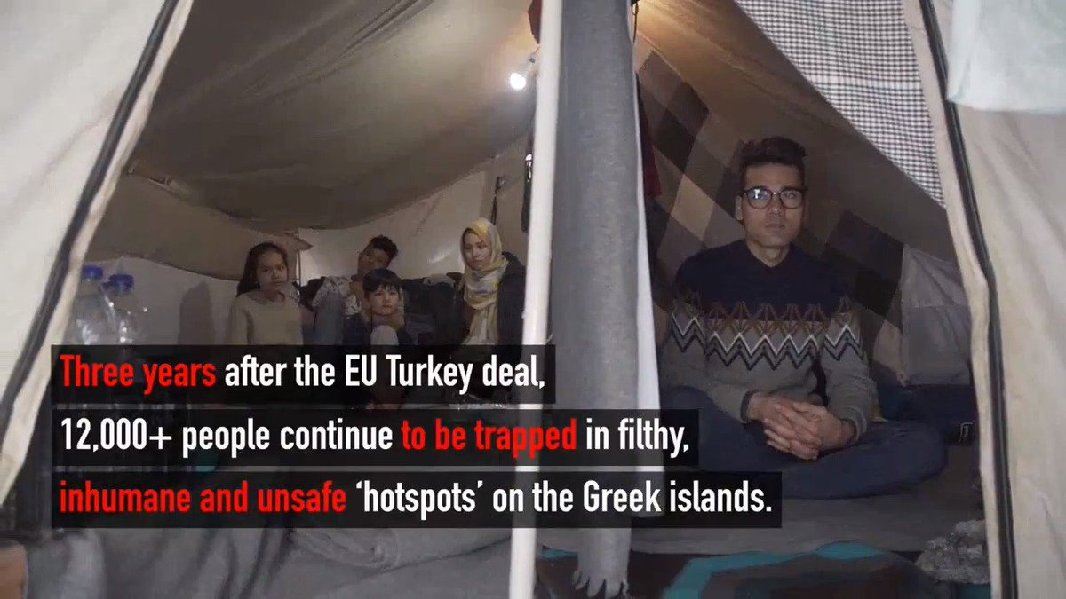 ⚠ Overcrowded ⚠ Dirty ⚠ Unsafe  These are the conditions that people in the Greek island 'hotspots' are forced to endure due to the EU's harmful policy of containment.   #LetThemOut  http://bit.ly/2CpNe8d
