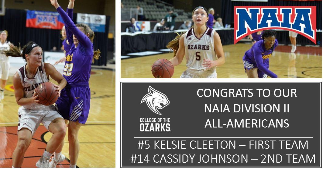 Congratulations to @CofOHardWorkU @CofOLadyCats  Kelsie Cleeton & Cass Johnson on receiving @NAIA DII All-American Honors!  Kelsie-First Team & Cass-2nd Team!!  Great seasons; great careers! http://bobcats.cofo.edu/Content/ViewRelease.aspx?releaseId=5cf34a71-fc42-462a-8513-bd6d2136c34a… #GoCats #BeOzarks